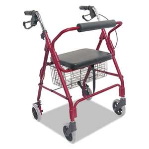 BRIGGS HEALTHCARE Ultra Lightweight Rollator, Burgundy, Aluminum, Adjustable