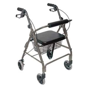 BRIGGS HEALTHCARE Ultra Lightweight Rollator, Titanium, Aluminum, Adjustable