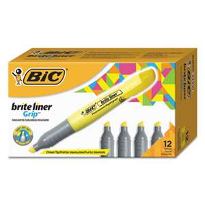 BIC CORP. Brite Liner Grip Highlighter, Chisel Tip, Fluorescent Yellow, Dozen