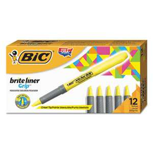BIC CORP. Brite Liner Grip Pocket Highlighter, Chisel Tip, Fluorescent Yellow, Dozen