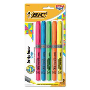 BIC CORP. Brite Liner Grip Pocket Highlighter, Chisel Tip, Assorted Colors, 5/Set
