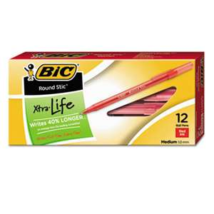 BIC CORP. Round Stic Xtra Precision & Xtra Life Ballpoint Pen, Red Ink, 1mm, Medium, Dozen