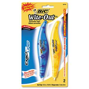 "BIC CORP. Wite-Out Exact Liner Correction Tape, 1/5"" x 236"", Blue/Orange, 2/Pack"