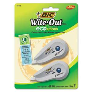 "BIC CORP. Wite-Out Ecolutions Mini Correction Tape, White, 1/5"" x 235"", 2/Pack"