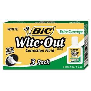 BIC CORP. Wite-Out Extra Coverage Correction Fluid, 20 ml Bottle, White, 3/Pack