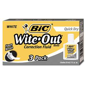 BIC CORP. Wite-Out Quick Dry Correction Fluid, 20 ml Bottle, White, 3/Pack