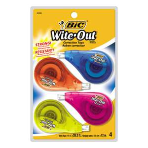 "BIC CORP. Wite-Out EZ Correct Correction Tape, Non-Refillable, 1/6"" x 400"", 4/Pack"