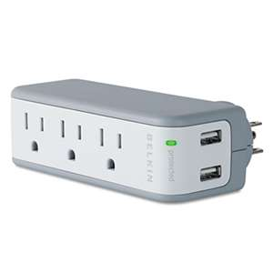 BELKIN COMPONENTS Wall Mount Surge Protector with USB Charger, 3 Outlets, 918 Joules, Gray/White