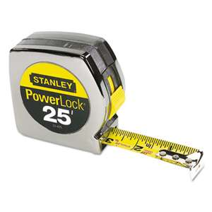 "STANLEY BOSTITCH Powerlock II Power Return Rule, 1"" x 25ft, Chrome/Yellow"