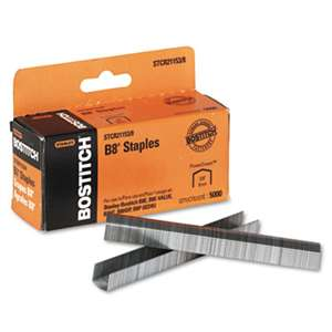 "STANLEY BOSTITCH B8 PowerCrown Premium Staples, 3/8"" Leg Length, 5000/Box"