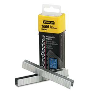"STANLEY BOSTITCH SharpShooter Heavy-Duty Tacker Staples, 1/2"" Leg Length, 1000/Box"
