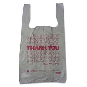 "BROWN PAPER GOODS Plastic Thank You T-Sacks, 6"" x 4"" x 15"", 2 Mil, White"
