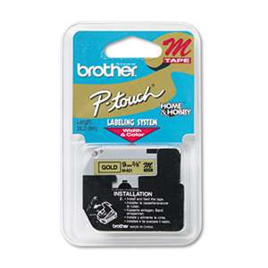 Brother P-Touch M821 M Series Tape Cartridge for P-Touch Labelers, 3/8w, Black on Gold