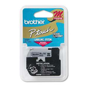 Brother P-Touch M921 M Series Tape Cartridge for P-Touch Labelers, 3/8w, Black on Silver