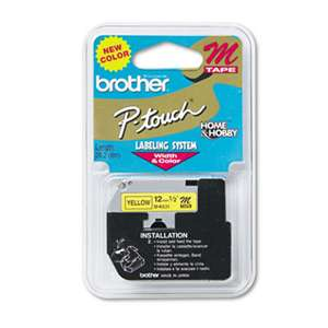 Brother P-Touch MK631 M Series Tape Cartridge for P-Touch Labelers, 1/2w, Black on Yellow
