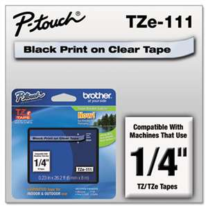 Brother P-Touch TZE111 TZe Standard Adhesive Laminated Labeling Tape, 1/4w, Black on Clear
