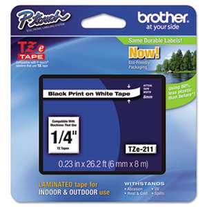 Brother P-Touch TZE211 TZe Standard Adhesive Laminated Labeling Tape, 1/4w, Black on White
