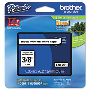 Brother P-Touch TZE221 TZe Standard Adhesive Laminated Labeling Tape, 3/8w, Black on White