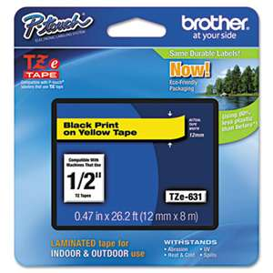 Brother P-Touch TZE631 TZe Standard Adhesive Laminated Labeling Tape, 1/2w, Black on Yellow