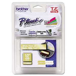 "Brother P-Touch TZEMQ835 TZ Standard Adhesive Laminated Labeling Tape, 1/2"" x 16.4 ft., White/Satin Gold"