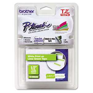 "Brother P-Touch TZEMQG35 TZ Standard Adhesive Laminated Labeling Tape, 1/2"" x 16.4 ft., White/Lime Green"