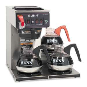 BUNN-O-MATIC CWTF-3 Three Burner Automatic Coffee Brewer, Stainless Steel, Black