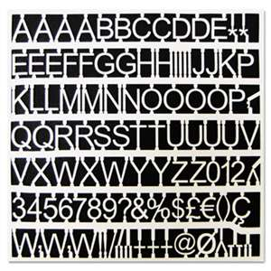 "BI-SILQUE VISUAL COMMUNICATION PRODUCTS INC White Plastic Set of Letters, Numbers & Symbols, Uppercase, 1"" Dia."
