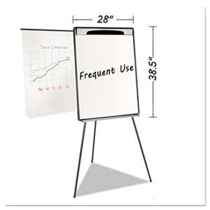 "BI-SILQUE VISUAL COMMUNICATION PRODUCTS INC Magnetic Gold Ultra Dry Erase Tripod Easel W/ Ext Arms, 32"" to 72"", Black/Silver"
