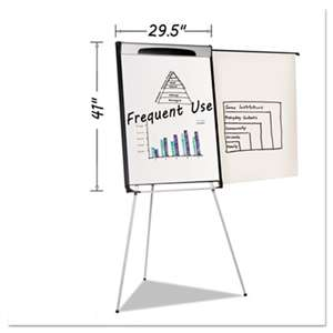 "BI-SILQUE VISUAL COMMUNICATION PRODUCTS INC Tripod Extension Bar Magnetic Dry-Erase Easel, 39"" to 72"" High, Black/Silver"