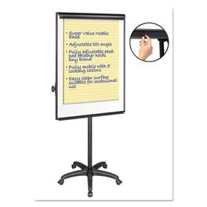"BI-SILQUE VISUAL COMMUNICATION PRODUCTS INC Silver Easy Clean Dry Erase Mobile Presentation Easel, 44"" to 75-1/4"" High"