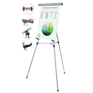"BI-SILQUE VISUAL COMMUNICATION PRODUCTS INC Telescoping Tripod Display Easel, Adjusts 38"" to 69"" High, Metal, Silver"