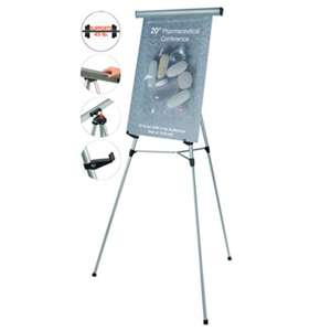 "BI-SILQUE VISUAL COMMUNICATION PRODUCTS INC Telescoping Tripod Display Easel, Adjusts 35"" to 64"" High, Metal, Silver"