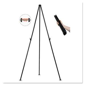 "BI-SILQUE VISUAL COMMUNICATION PRODUCTS INC Instant Easel, 61 1/2"", Black, Steel, Heavy-Duty"