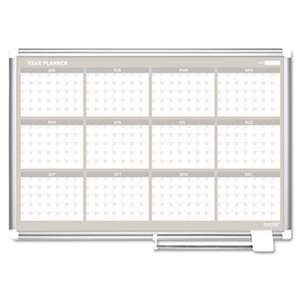 BI-SILQUE VISUAL COMMUNICATION PRODUCTS INC 12 Month Year Planner, 36x24, Aluminum Frame