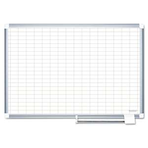 "BI-SILQUE VISUAL COMMUNICATION PRODUCTS INC Grid Planning Board, 1x2"" Grid, 48x36, White/Silver"