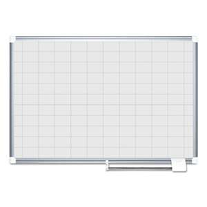 "BI-SILQUE VISUAL COMMUNICATION PRODUCTS INC Grid Planning Board, 48x36, 2x3"" Grid, White/Silver"