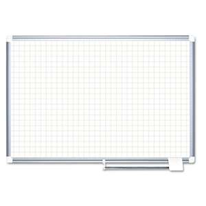 "BI-SILQUE VISUAL COMMUNICATION PRODUCTS INC Grid Planning Board, 1"" Grid, 72x48, White/Silver"