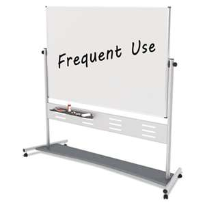 "BI-SILQUE VISUAL COMMUNICATION PRODUCTS INC Magnetic Reversible Mobile Easel, 70 4/5w x 47 1/5h, 80""h, White/Silver"