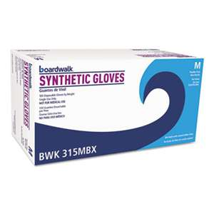 BOARDWALK Powder-Free Synthetic Vinyl Gloves, Medium, Cream, 4 mil, 1000/Carton