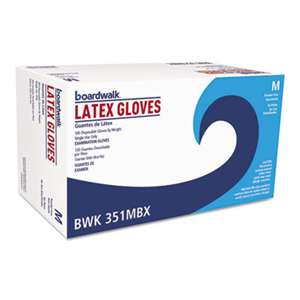 BOARDWALK Powder-Free Latex Exam Gloves, Medium, Natural, 4 4/5 mil, 1000/Carton