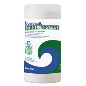 Boardwalk 3736EA Natural All Purpose Wipes, 7 x 8, Unscented, 75/Canister