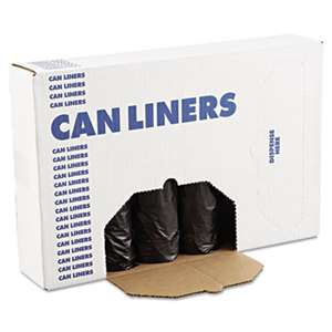 BOARDWALK Low-Density Can Liners, 56gal, .60mil, 43 x 47, Black, 25 Bags/Roll, 4 Rolls/CT