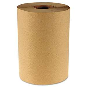 "BOARDWALK Hardwound Paper Towels, 8"" x 350ft, 1-Ply Natural, 12 Rolls/Carton"