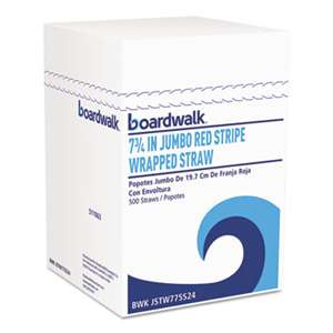 "BOARDWALK Jumbo Straws, 7 3/4"", Plastic, Red w/White Stripe, 500/Pack"