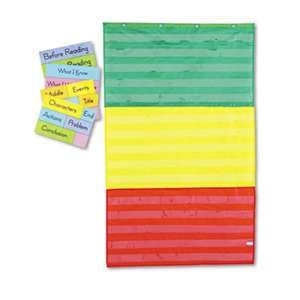 CARSON-DELLOSA PUBLISHING Adjustable Tri-Section Pocket Chart with 18 Color Cards, Guide, 36 x 60