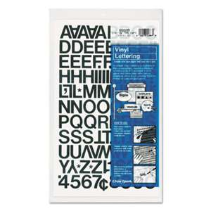 "CHARTPAK/PICKETT Press-On Vinyl Letters & Numbers, Self Adhesive, Black, 3/4""h, 94/Pack"