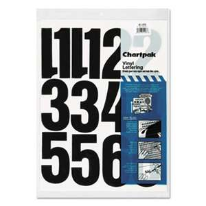 "CHARTPAK/PICKETT Press-On Vinyl Numbers, Self Adhesive, Black, 4""h, 23/Pack"