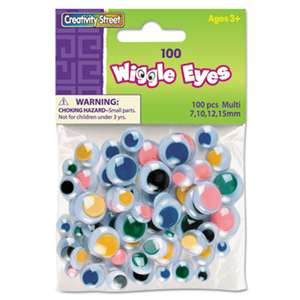 THE CHENILLE KRAFT COMPANY Wiggle Eyes Assortment, Assorted Sizes, Assorted Colors, 100/Pack
