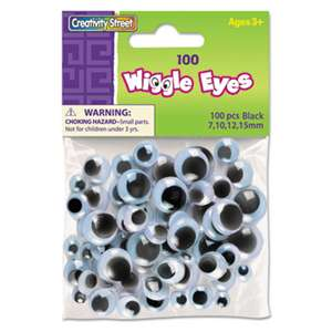 THE CHENILLE KRAFT COMPANY Wiggle Eyes Assortment, Assorted Sizes, Black, 100/Pack