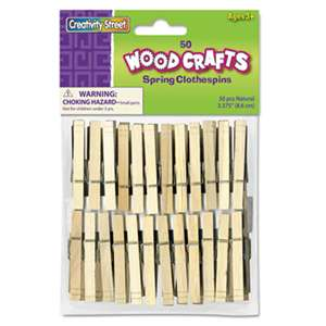 THE CHENILLE KRAFT COMPANY Wood Spring Clothespins, 3 3/8 Length, 50 Clothespins/Pack